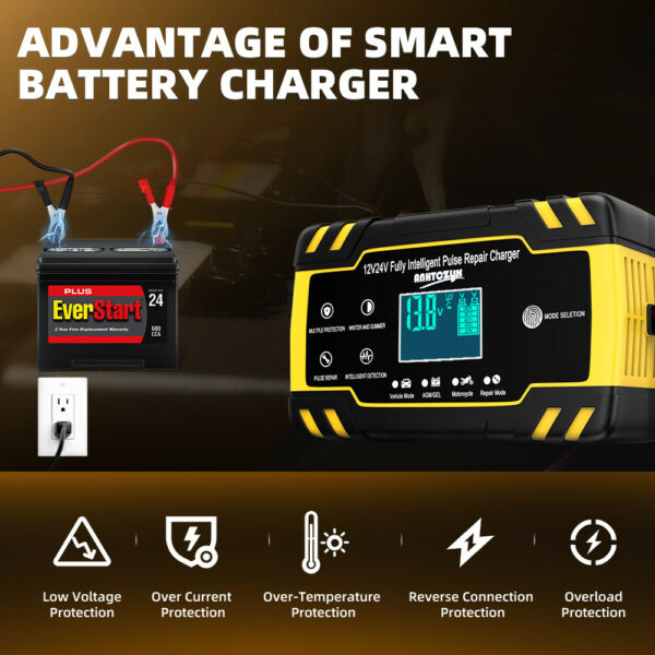 Auto Battery charger 12V 24V Puls Repair Chargers Digital LCD Display AGM GEM $38.99