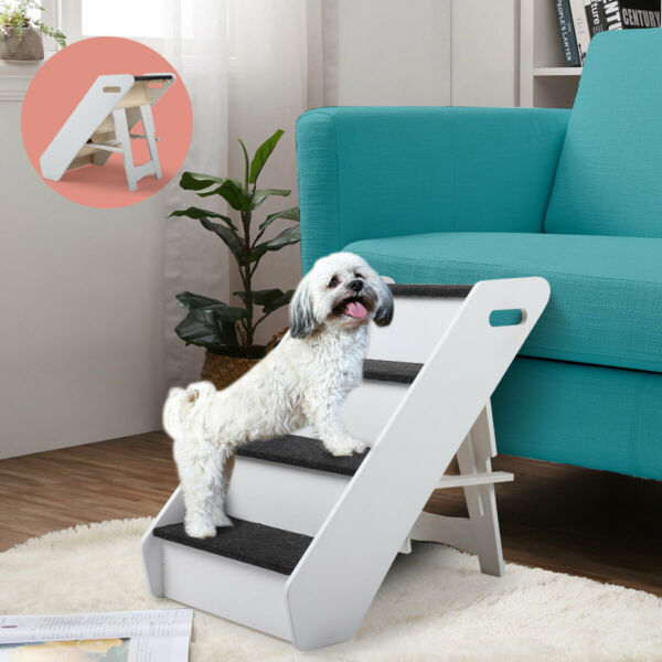 Folding Dog Stairs 4 Steps Pet Stairs Ladder for Small to Medium Pets Dogsamp;Cats $79.99