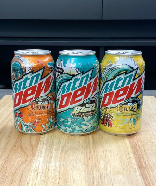 New 2021 Mountain Mtn Dew Baja Blast Punch and Flash Set of 3 cans $10.00