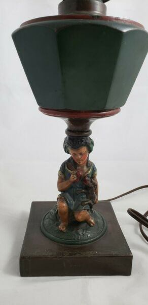 ANTIQUE METAL GIRL amp; DOG TABLE LAMP SPELTER? ART CRAFT PRODUCTS CHICAGO $39.99