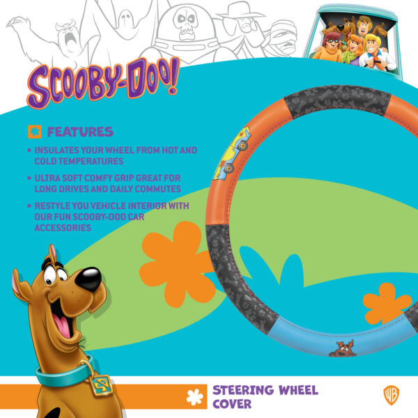 Scooby Doo Leather Velour Steering Wheel Cover Official DC Comic Universal Fit $21.90