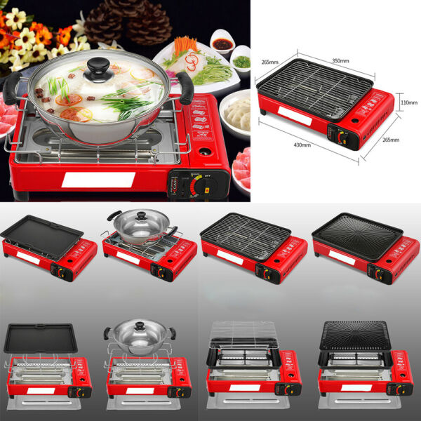 Portable BBQ Grill Gas Stove Outdoor Indoor Home Picnic Hotpot Stainless Steel #