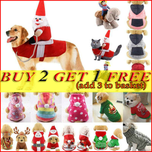 Pet Cat Dog Christmas Coat Costume Jacket Jumpsuit Cosplay Puppy Funny Apparels $9.29