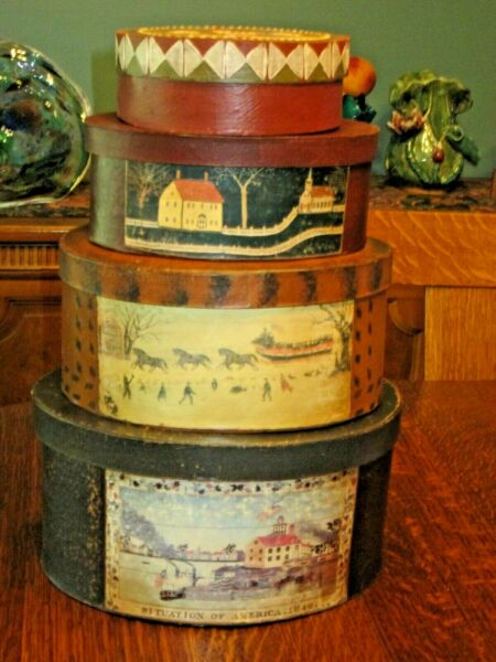 Vintage Painted Decorative Wood Boxes Lot of 4 Stacking Boxes