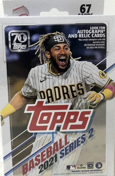 2021 Topps Baseball Series 2 Factory Sealed 67 Card Hanger Pack Box Relics Autos