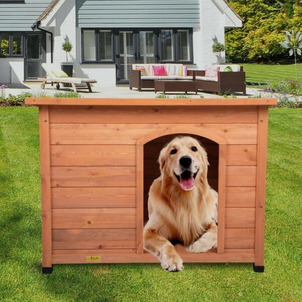 Outdoor Wooden Dog House Large Pet Shelter Cage Doggie Home Weather Resistant $126.99