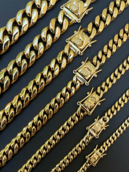 Miami Cuban Link Chain Necklace Or Bracelet 14k Gold Over Stainless Steel 4 14mm