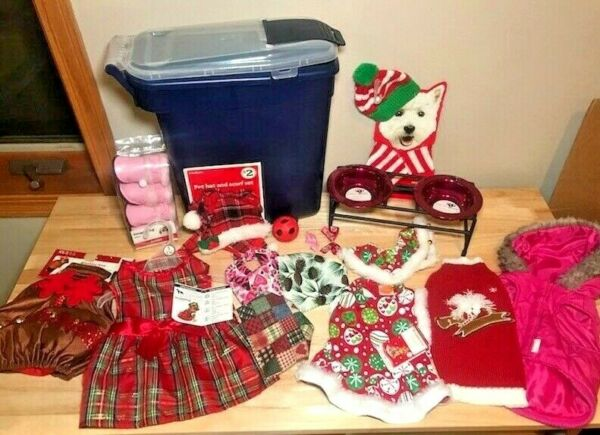 Dog Clothing Accessories Lot XS S Small Dress Sweater Costume Pedestal Feeder $26.99