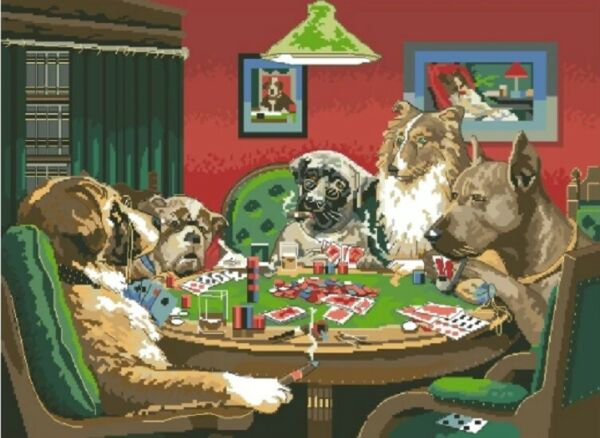 DIY Dogs Playing Poker Animal Dog Breeds Card Games Paint By Numbers Kit $21.84
