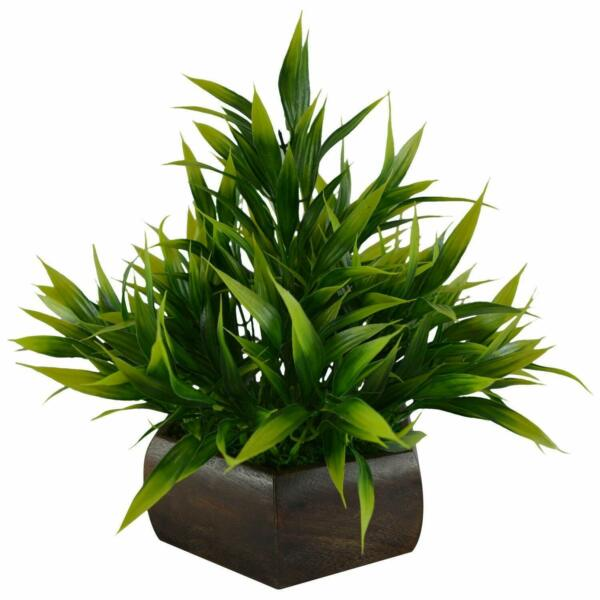Home Office Decor Artificial Bamboo Leaves Plant with Wood Pot Us $37.99