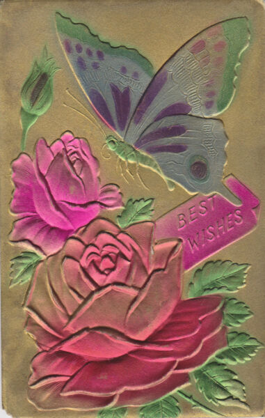 BEST WISHES COLORFUL BUTTERFLY amp; ROSES Postcard Unique amp; Expensive For Its Day $14.49