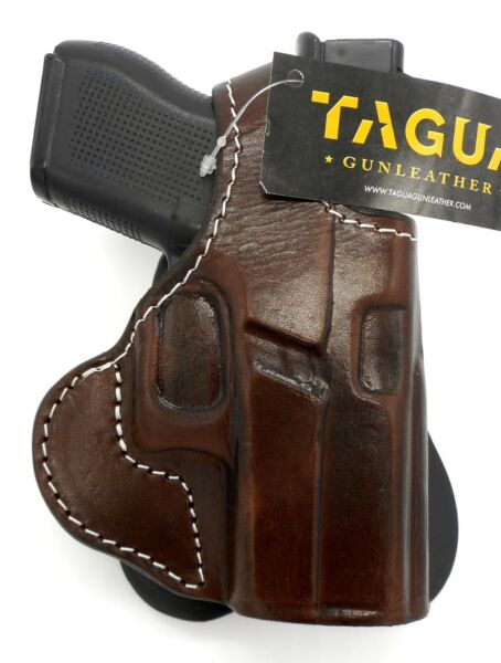 TAGUA PREMIUM Brown Leather Thumb Break PADDLE Holster for SPRINGFIELD HELLCAT