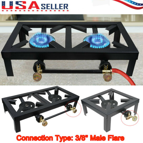 Portable Camp Stove Cast Iron Burner Propane Gas LPG Outdoor BBQ Grill Cooker US