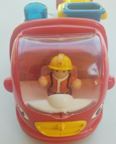WOW Red Cabover Firetruck Toy Rotating Ladder Bucket Bell Trunk Fireman Figurine $14.07