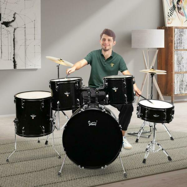 5 Piece Complete Full Size Pro Adult Drum Set Kit with Tom Drum Snare Drum Bench $239.99