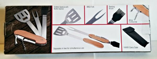 NEW in BOX Compact MULTI TOOL BBQ GRILL SET Great for RVS CAMPERS BEACH PARK