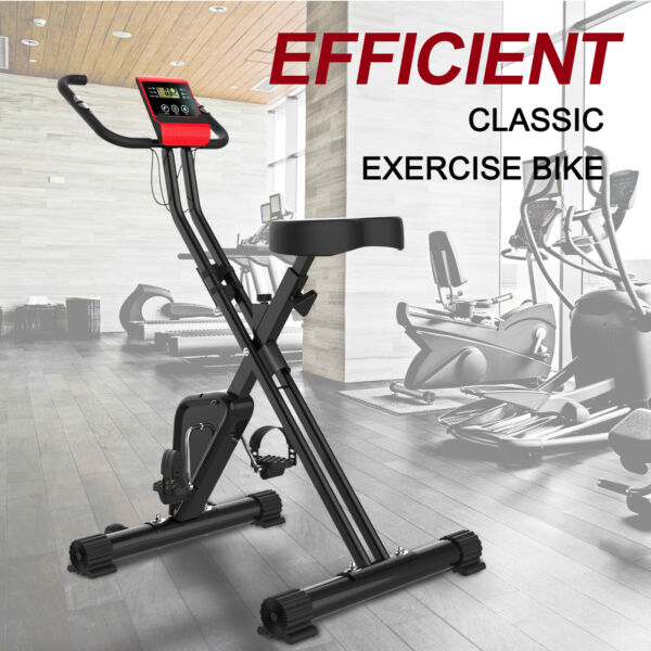 LCD Folding Exercise Bike Indoor Cycling Cardio Fitness Gym Workout w Battery $89.99