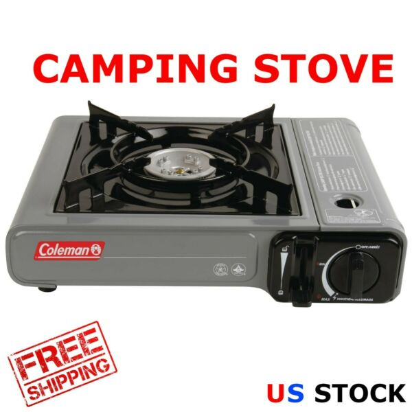 Coleman Tabletop Portable Butane Gas Camping StoveFit Up Pan 10in1 BurnerGray $25.95