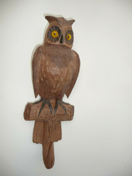 RARE BLACK FOREST CARVED WALL WHIP HOOK OWL ON A TREE BRANCH