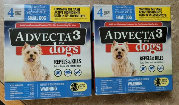 Advecta 3 For Small Dogs 5 to 10 lbs 8 month supply KILLS FLEAS 2 DMGD BXES $27.99