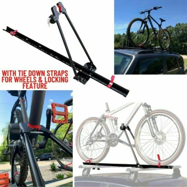 Bike Rack for Car Roof Universal Upright Single Bicycle Carrier Trailer Lockable $46.99