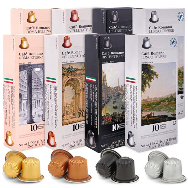 Cafe Romano Capsules Single Cup Aluminum Coffee Pods Compatible with Nespresso