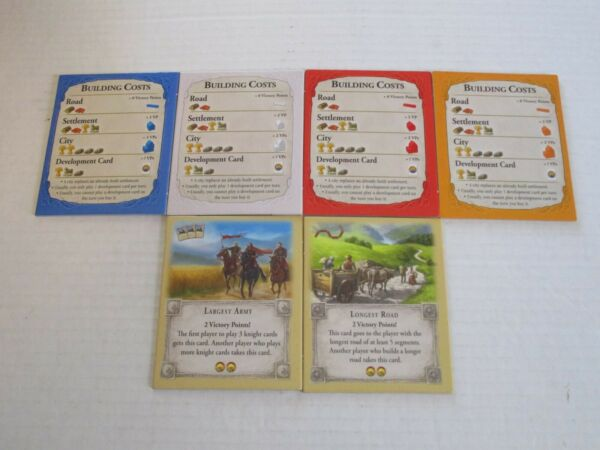 Settlers of Catan Replacement Pieces 4 Building Cost amp; 2 Special Bonus Cards $10.00