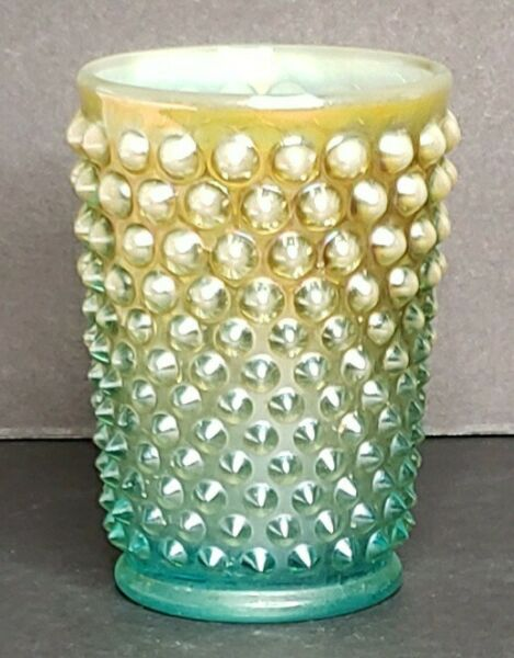 Fenton Carnival Glass Yellow Green Hobnail Juice Water Cup Glasses Tumblers