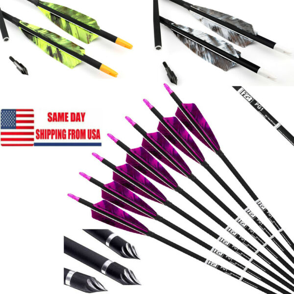 6PK Carbon Arrows with 4 Inch Shield Turkey Feathers for Archery Hunting 30#x27;#x27; $29.99