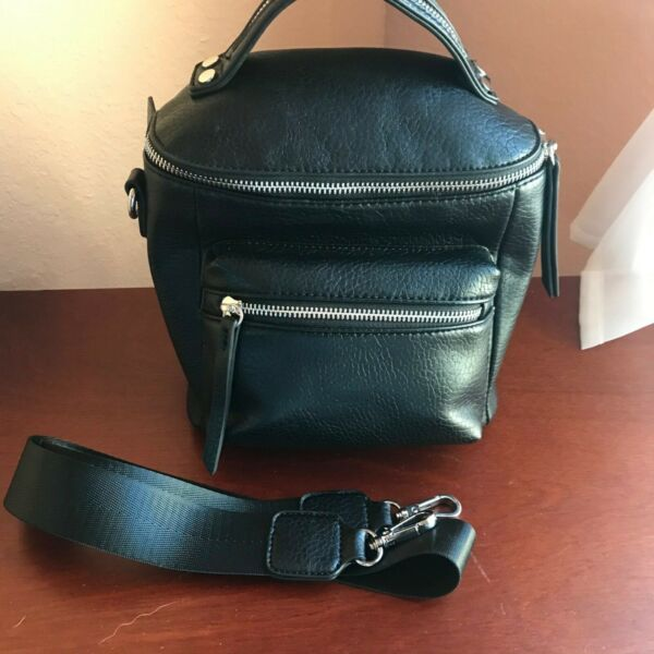 Mini Convertible Backpack Black Faux Leather Silver Hardware $18.00