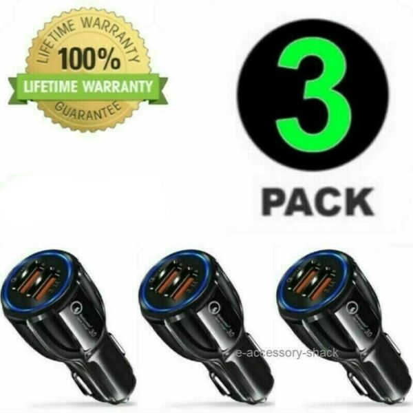 3 Pack 2 USB Port Fast Car Charger Adapter for iPhone Samsung Android Cell Phone $9.82