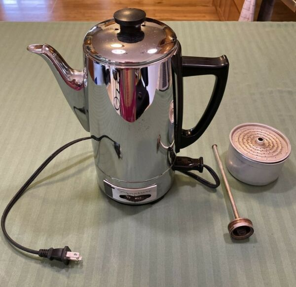 Vintage Wards Signature Stainless Steel 12 Cup Percolator Coffee Pot Automatic