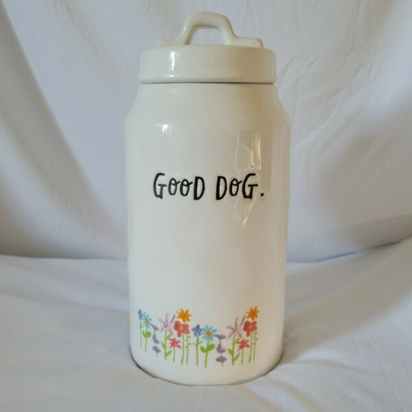 Rae Dunn Artisan Collection by Magenta Good Dog Tall Flower Dimpled Canister $32.99
