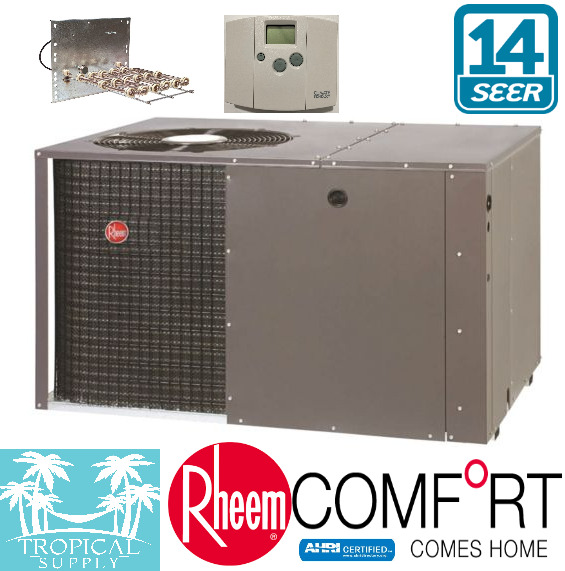 3 TON AC RHEEM SELECT PACKAGE UNIT WITH HEAT STRIP amp; THERMOSTAT ALL IN ONE $3150.00