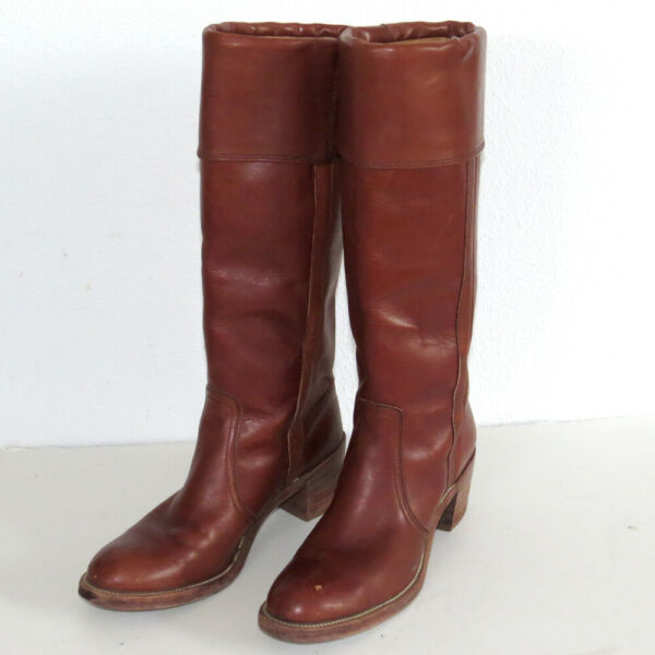 Vtg Frye Boots 8515 Tall Cuffed Brown Leather Size 8 AA Narrow w Box