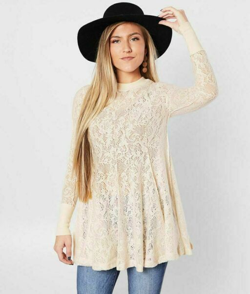 NEW FREE PEOPLE COFFEE IN THE MORNING CHAMOIX LACE TUNIC TOP SHIRT DRESS M NWT