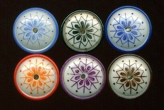 Antique Buttons…6 China Whistles Pattern #6 Shape #2….@9 16quot;