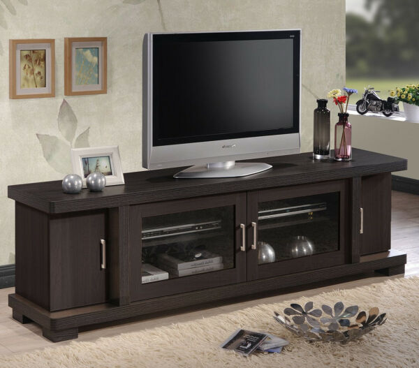 Entertainment Center Brown Wood For 80 quot; TV Stand Media Console Storage Cabinet $299.99