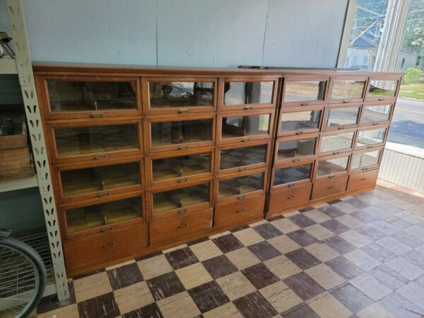 HEAVY 2 PC Oak Clothing Hardware Store Cabinet Glass Front Doors Drawer Section $5000.00
