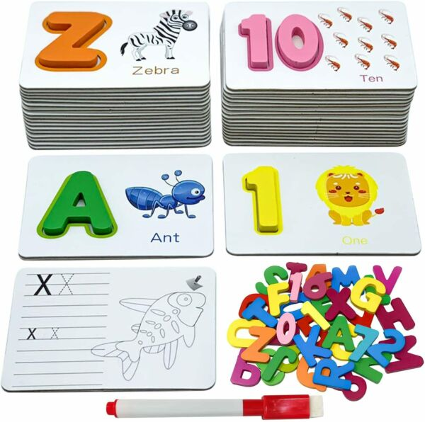 Alphabet Flash Cards Game Wooden Number ABC Letter Homeschool Educational Puzzle