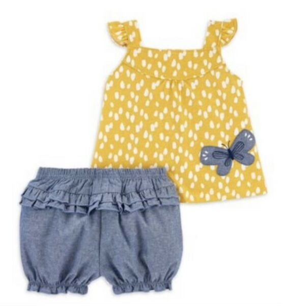 BABY GIRLS CHILD OF MINE CARTERS TWO PIECE BUTTERFLY OUTFIT 3 6M NWT