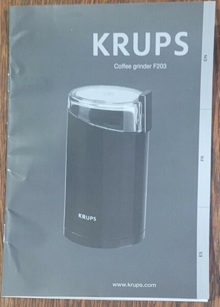 Instructions Manual for Krups Coffee Grinder F203 in three languages