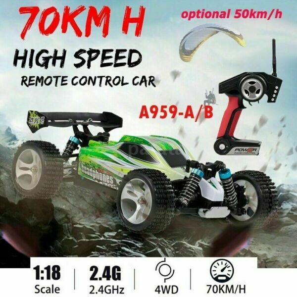 WLtoys A959 A 1:18 Drift RC Car 4WD 2.4GHz 50MPH High Speed Racing Off road Gift $25.99
