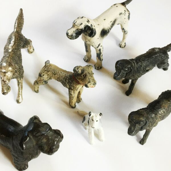 VINTAGE METAL DOG FIGURINES COLLECTION of 7 SMALL Different Metals $75.00