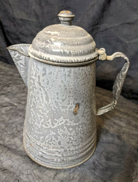 Vintage coffee pot green and cream