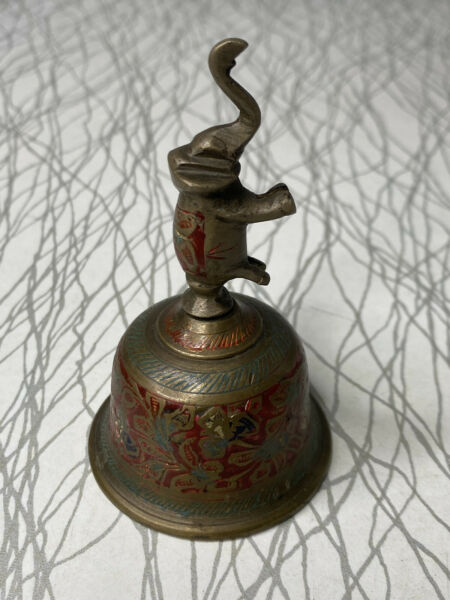 VINTAGE BRASS ELEPHANT BELL TRUNK UP WITH ENAMEL ACCENTS 4quot; High $28.00