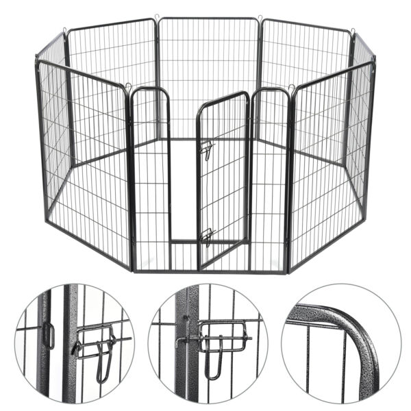 39quot; Tall 8 Panel Pet Playpen Large Crate Fence Dog Playpen Exercise Cage Outdoor