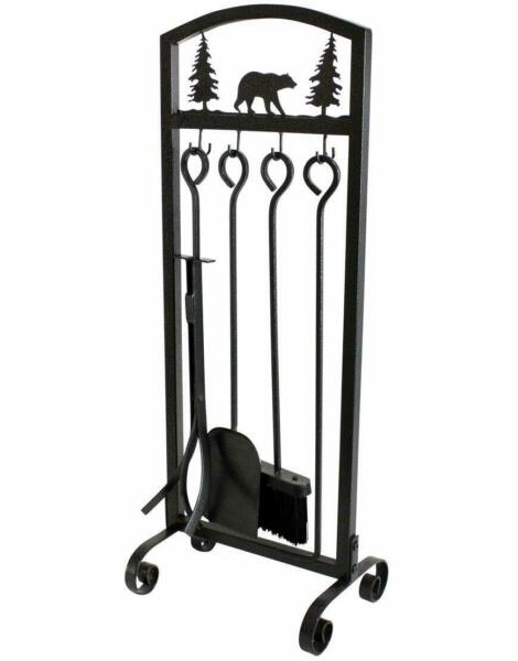 Fireplace Tools Sets 5 Pieces Extra Strength Wrought Iron Indoor Outdoor Fire
