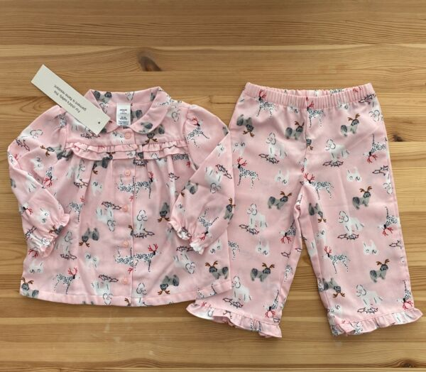 NWT JANIE AND JACK Pink Christmas Dogs Flannel Pajamas Size 12 18 Months $24.95