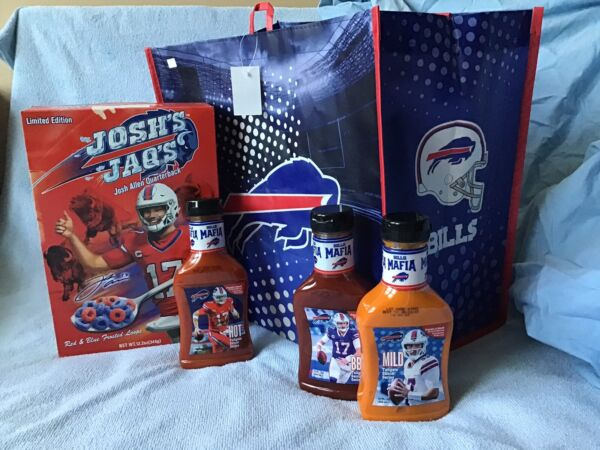 Buffalo Bills Mafia*Josh Allen*3 Tailgate Sauces Jaqs Cereal amp; Grocery Bag Tote $30.99